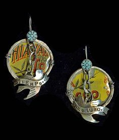 """Tiempo Es Oro Sterling silver earrings with turquoise and antique tins - Tins will vary. Approximately 2.5"""" x 1.5"""", by Sweetbird Studio."""