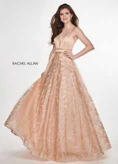 b548412d27a Rachel Allan Sweetheart Ball Gowns Prom Dresses in Gold Color for Season  SPRING 2019 with Style Code - 6636 and Fabric - Matte Satin Glitter Tulle