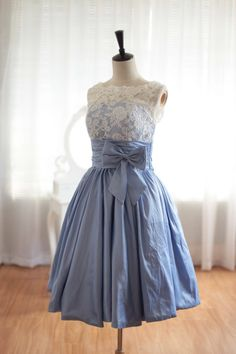 Custom Made Scalloped Blue Knee Length Prom Dress by DidoCouture