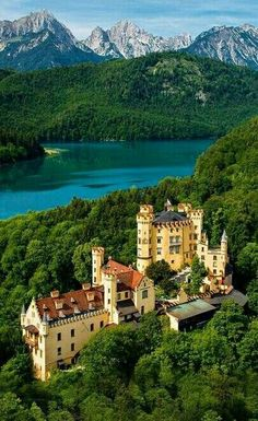 """This castle was built by King Ludwig II's father, King Maximilian II of Bavaria, from 1833 to Located near the town of Füssen in southwestern Bavaria, Schloss Hohenschwangau (""""castle o Castle Ruins, Castle House, Beautiful Castles, Beautiful Buildings, Wonderful Places, Beautiful Places, Beautiful Pictures, Amazing Places, Places Around The World"""