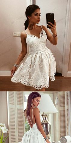 Fashion A-Line Spaghetti Straps Backless White Lace Homecoming Dresses,Short Prom Dresses,BDY0189