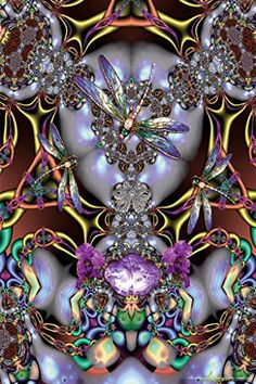 Dragonfly Fractal Art Print Poster – 12×18