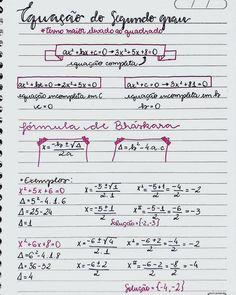 Do assunto que amo ❤ . . . . . . . . #matematica #equação #equaçãodosegundograu #9ano #resumos #studygram #studygrambr Notebook Organization, School Organization, Mental Map, Chemistry Notes, Math Notes, Math Vocabulary, Math Formulas, Study Hard, School Notes