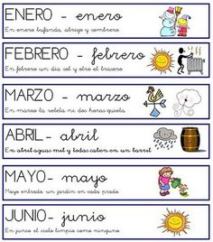 Los meses con frases (I) Spanish Lessons, Teaching Spanish, Spanish Quotes, Spanish Class, Spanish 1, Learn Spanish, Daily Five Organization, Classroom Organization, Organization Ideas