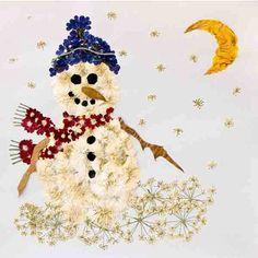 pressed flower art work, snowman