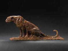 Sculpture: Leopard (African big cat sculpture)(bronze) by sculptor David Mayer in Cats Wild and Big Cats Sculptures - Indoor Sculpture for sale - ArtParkS Sculpture Park - Bringing Sculpture into the Open