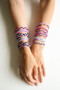 DIY friendship bracelet patterns: Go neon or go home with these Braided Friendship Bracelets from Purl Soho.