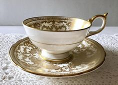 Your place to buy and sell all things handmade China Cups And Saucers, China Tea Cups, Tea Cup Set, Tea Cup Saucer, Tea Art, Gold Gilding, Porcelain Ceramics, Vintage Tea, Drinking Tea