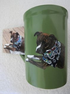 Pet Portrait Hand Painted Original Coffee Mugs Made to Order Pit Bull or Any Other Animal From Photo by Shannon Ivins Pigatopia Painted Coffee Mugs, Hand Painted Mugs, Hand Painted Ceramics, Handmade Gifts For Him, Pet Memorials, Love Painting, Pit Bull, Pet Portraits, Different Colors