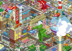 Les villes pixelisés d'eBoy - La boite verte
