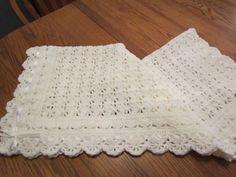 White Baby Blanket Crochet Christening Afghan Heirloom Lace