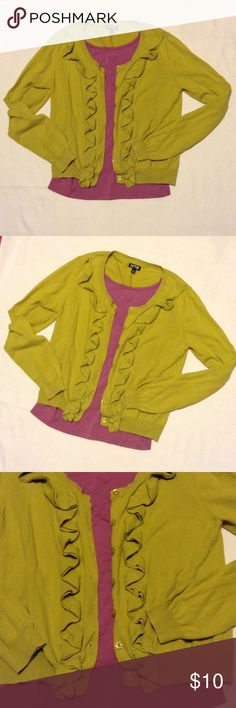 Apt. 9 cardigan with ruffles Great cardigan to add color to your outfit. No tears or stains Apt.9 Sweaters Cardigans
