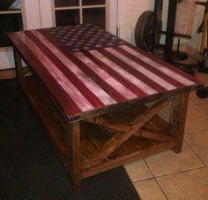 American flag rustic coffee table