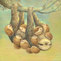 Sloth Covered With Hedgehogs, by Nancy Chiu
