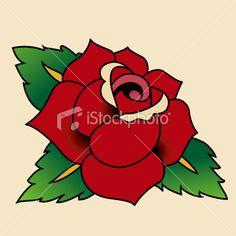Old School Rose Tattoo Flash   Rose - Tattoo style Royalty Free Stock Vector Art Illustration