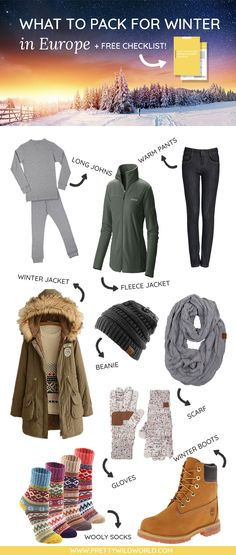 FREE CHECKLIST INCLUDED!!! Don't know what to pack for winter in Europe? Here's the perfect post for you that includes what to pack for vacation, what to pack in a carry on, winter packing list, winter packing, winter packing outfits, winter packing list cold weather, packing list winter vacation. Check it out or pin it for later! #Winter #PackingList #WinterPackingList