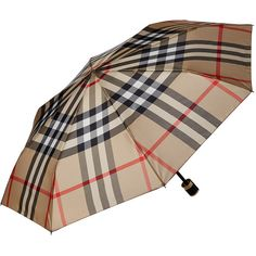 Burberry Check Folding Umbrella ($180) ❤ liked on Polyvore featuring accessories, umbrellas, print umbrella, burberry umbrella, folding umbrella and burberry