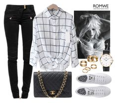 """""""Romwe Plaid Shirt"""" by piaspieler ❤ liked on Polyvore featuring Balmain, Chanel, adidas, Apt. 9 and Daniel Wellington"""