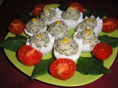 Spenótkrémmel töltött tojás Recept képpel - Mindmegette.hu - Receptek Sushi, Healthy Recipes, Breakfast, Ethnic Recipes, Food, Drink, Morning Coffee, Beverage, Essen