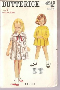 Butterick 4215 girls DRESS pleats, Peter Pan collar, long or short sleeves, size 5 chest 23 vintage sewing pattern Little Girl Dress Patterns, Vintage Dress Patterns, Sewing Patterns For Kids, Little Girl Dresses, Sewing For Kids, Vintage Girls Dresses, Vintage Outfits, Vintage Fashion, Dress Vintage