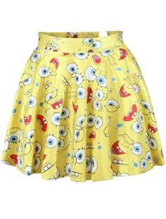 Spongebob Print Pleated Skirt
