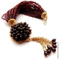 """Купить Браслет """"Elegance"""" - бордовый, Гранатовый браслет, браслет из граната, бордовый браслет, вечерний браслет"""