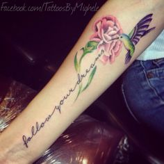 Follow your dreams. Carnation and hummingbird tattoo.