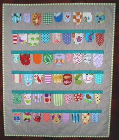 little bunting quilt by Sarah Fielke.  mental note - love the bunting-border on one of the quilts in Sarah's new book - can't find an online pic to pin it.