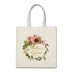 Pink Peony Wreath Mother of the Groom ID456 Tote Bag - floral style flower flowers stylish diy personalize