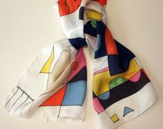 Add some wearable art to your outfit this season!  This is a beautiful hand painted silk scarf. This unique asbtract design is in some shades of pourple, blue, orange, yellow and white colors.  This will look great on you with any outfit, perfect for everyday wear or an elegant party or wedding.  The item goes with a gift! This is an one-off-a-kind watercolor bookmark showing the first letter of buyers name.  Size: width: 140 cm = 56 inches height: 45 cm = 18 inches  Materials: Silk: ponge…