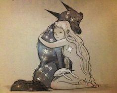 Chiara Bautista, The Cosmic Wolf and the Bunny Girl ♥ Illustrations, Illustration Art, Chiara Bautista, Manga Anime, She Wolf, Art Moderne, Art Design, Amazing Art, Fantasy Art