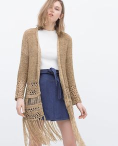 ZARA - WOMAN - OPEN-WORK CARDIGAN WITH FRINGES