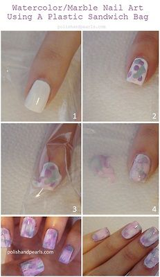 DIY Watercolor Nails Tutorial from Polish and Pearls here.