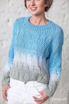 Knitted sweater / Кофты и свитера ручной работы. Ярмарка Мастеров - ручная работа. Купить Джемпер с листиками серо-голубой. Handmade. Подарок
