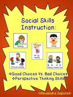 Here are two of my best-selling products for social skills instruction! Good Vs. Bad Choices & Perspective Thinking Skills!