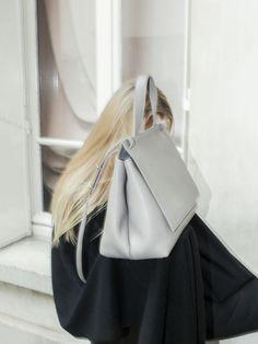 TSATSAS — ADA shoulderbag in grey natural calfskin leather. Leather Backpack, Bucket Bag, Shoulder Bag, Store, Natural, Grey, Womens Fashion, Bags, Collection