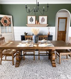Designed by @greeneacresfarmhouse Furniture, Room, Green Colors, Remodeled Campers, Dining Table, Kitchen Rug, Rustic Dining Table, Dining Room, Area Rugs