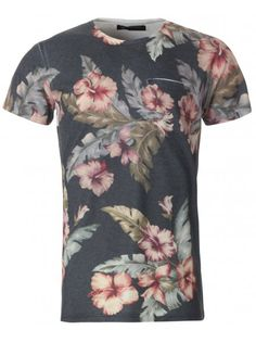 Twisted Soul Mens White Floral Sublimation  T-Shirt