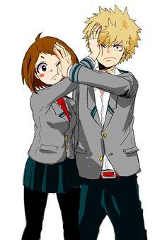 Boku no Hero Academia    Uraraka Ochako, Katsuki Bakugou. I like this picture to much