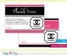 Coco Chanel Thank You Tiny Notes Printable by adlyowlinvitations, $4.50