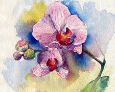 """Aquarell Blume Malerei Drucken - """"Orchideen-Blüte"""", gedruckt auf Aquarellpapier"""