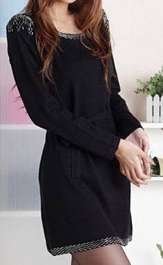 Black Long Sleeve Drawstring Waist Beading Dress #SheInside
