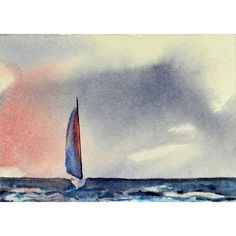 ACEO Dreamtime Sail, Sailboat Watercolor - SOLD