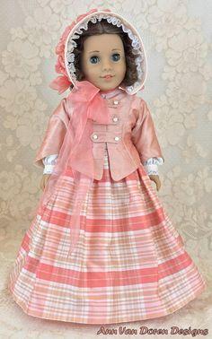"7 Piece Silk Civil War Era Outfit for 18"" dolls such as American Girl®, AnnVanDoren $115"