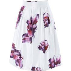 Ornate High Waist Floral Skater Skirt ($15) ❤ liked on Polyvore featuring skirts, rosegal, floral skirt, flower print skirt, floral knee length skirt, floral circle skirt and skater skirt