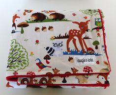 Baby Blanket, Woodland Forest Friends, Minky Blanket, 28x34