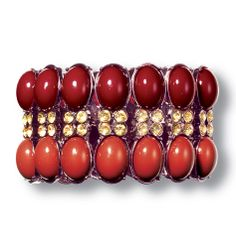 Avon: mark Style Goddess Bracelet The perfect complement to our style goddess necklace, this bracelet ups the statement factor to wow. Wine and burnt orange faux stones with faux topaz-colored stones in a bronzetone setting. Stretches to accommodate a range of wrist sizes.  $28