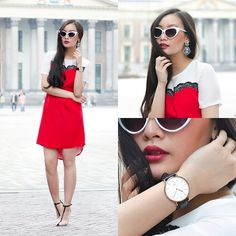 Esther Style Lace Dress, Zara Strappy Heels, Daniel Wellington Classic Watch, Zero Uv White Cat Eye Sunnies, Mango Crystal Earrings