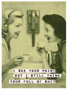 I see your point. But i still think you are full of shit! Retro Humor, Vintage Humor, Retro Funny, Funny Vintage, Haha Funny, Hilarious, Funny Stuff, Funny Shit, Funny Things