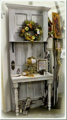 repurpose an old door into a potting bench. I have seen this done with old scree… repurpose an old door into a potting bench. I have seen this done with old screen doors too. Old Door Projects, Furniture Projects, Furniture Makeover, Diy Furniture, Vintage Furniture, Furniture Design, Old Door Crafts, Wood Crafts, Wood Projects